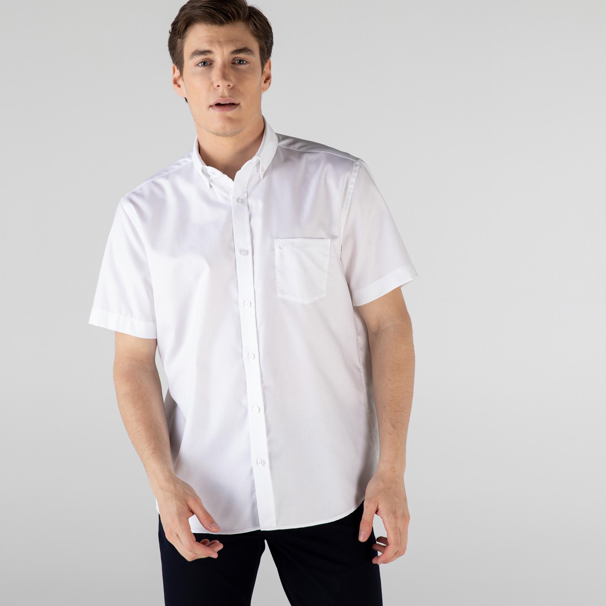 Lacoste Erkek Regular Fit Kısa Kollu Beyaz Gömlek