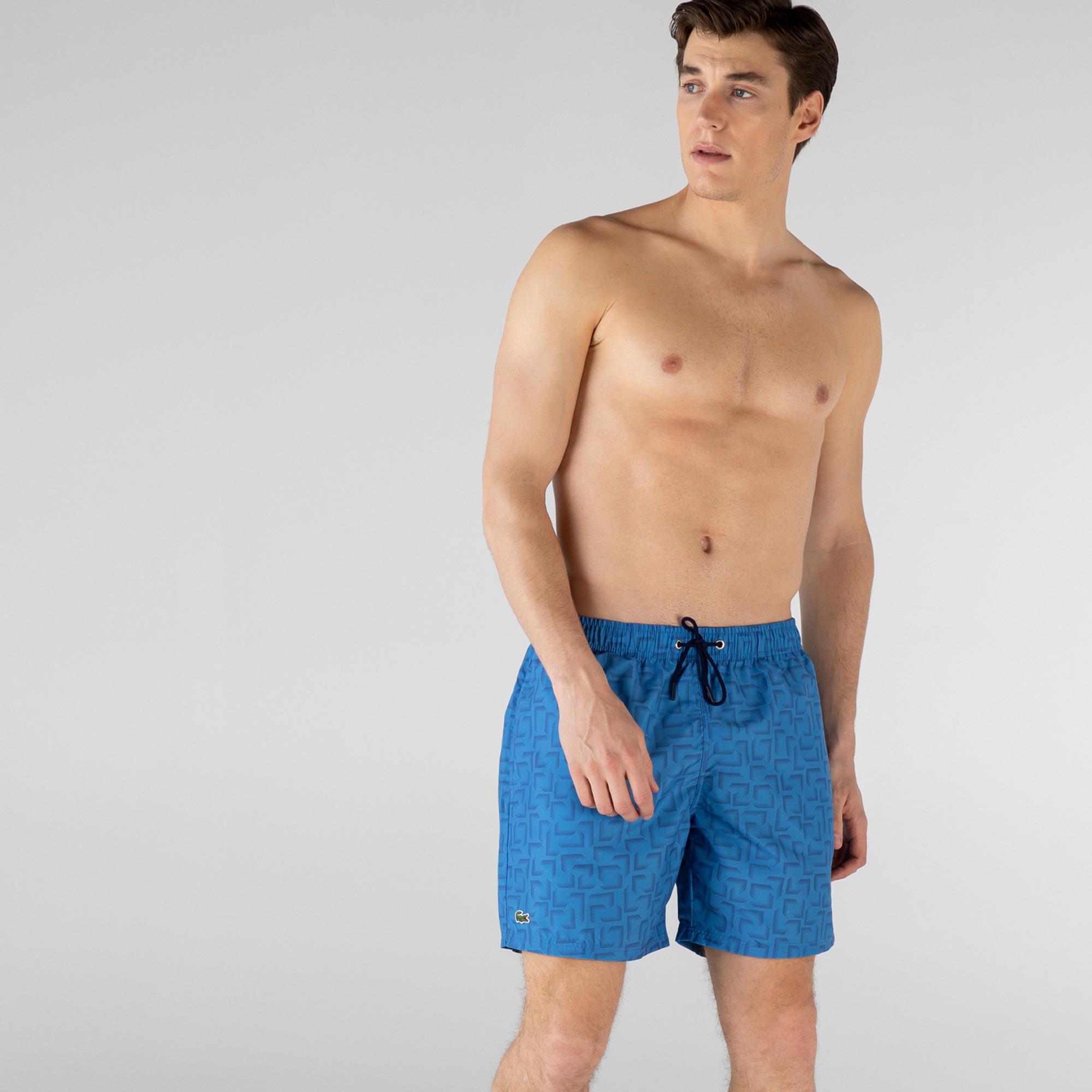 Lacoste Erkek Desenli Mavi Şort Mayo