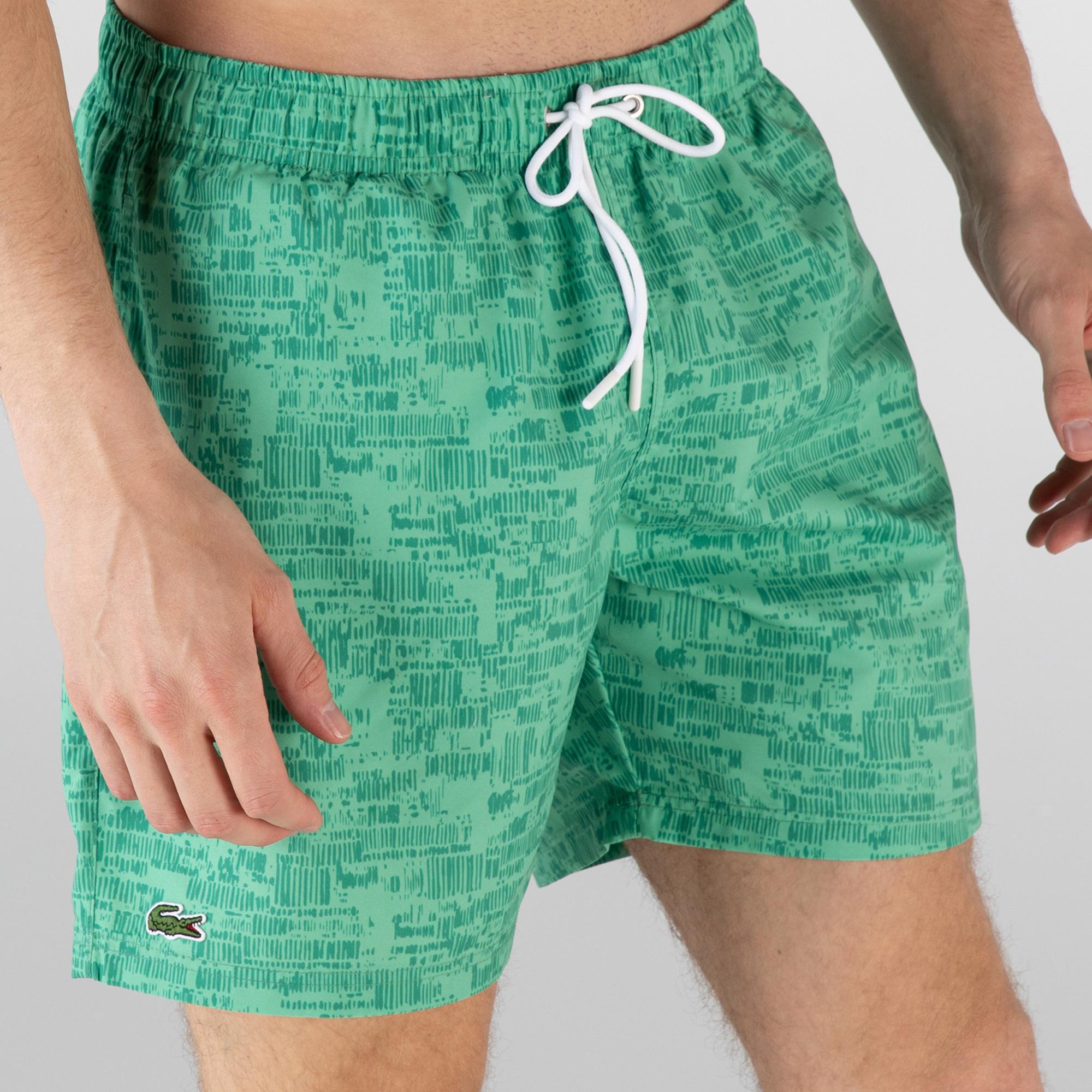 Lacoste Erkek Desenli Yeşil Şort Mayo