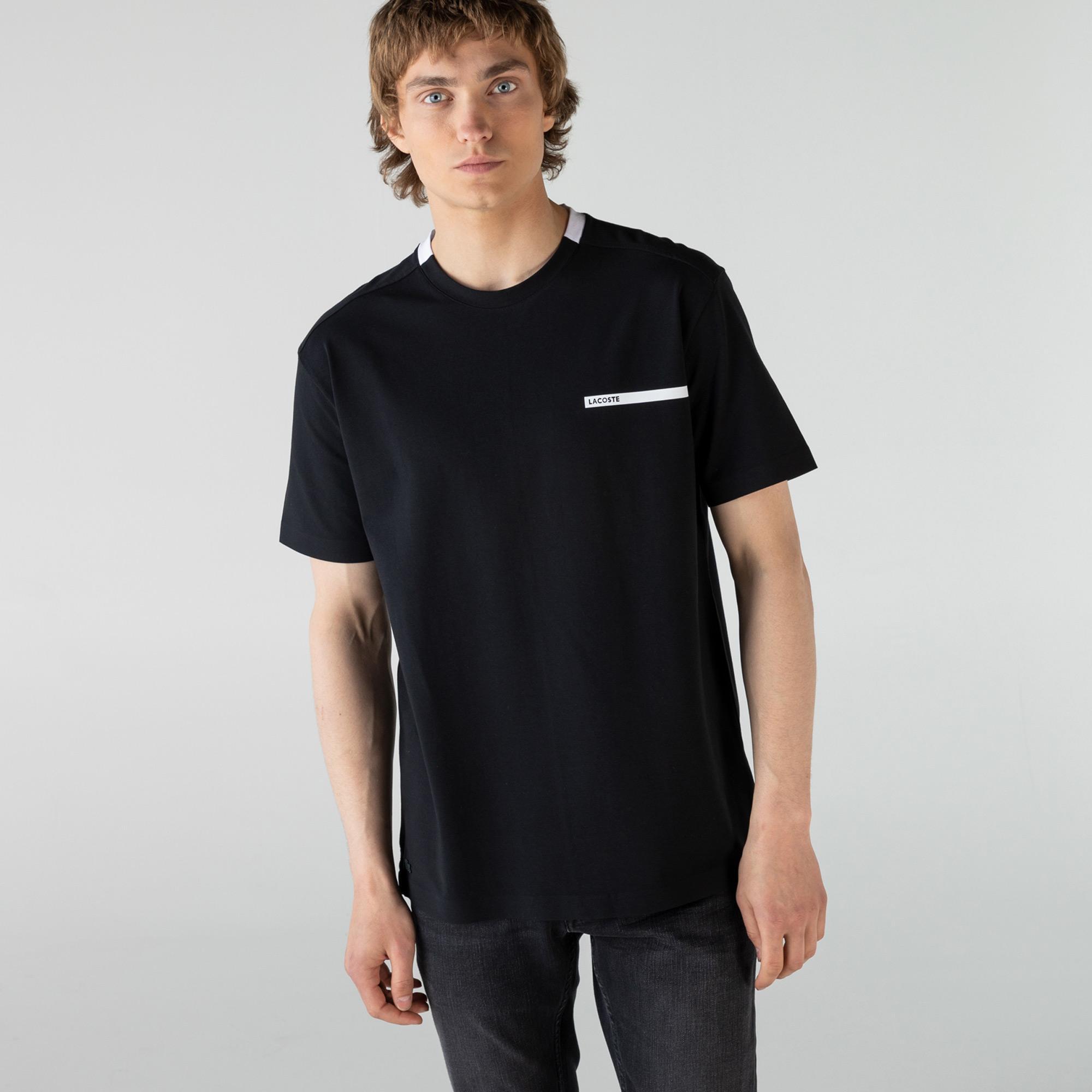 Lacoste Erkek Rahat Fit Bisiklet Yaka Siyah T-Shirt
