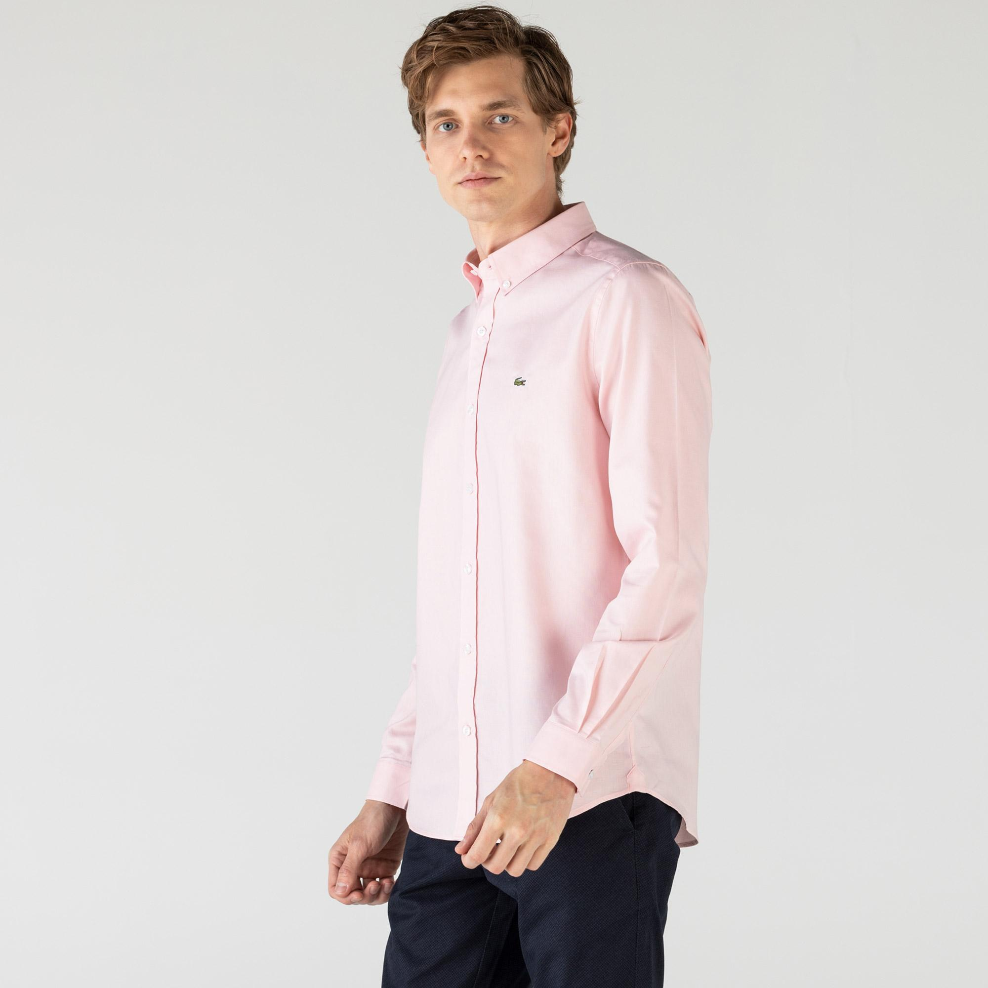Lacoste Erkek Slim Fit Açık Pembe Gömlek