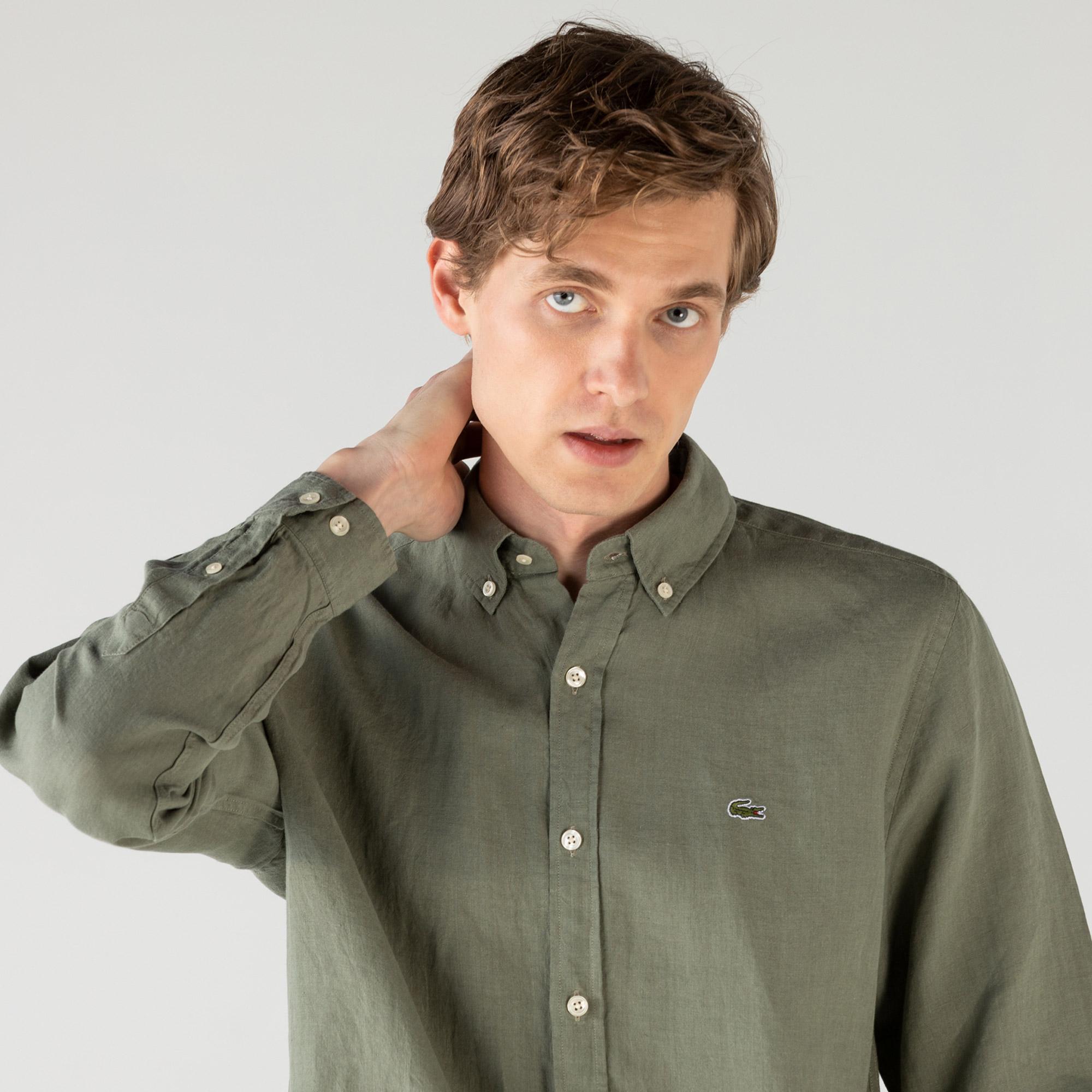 Lacoste Erkek Regular Fit Keten Haki Gömlek