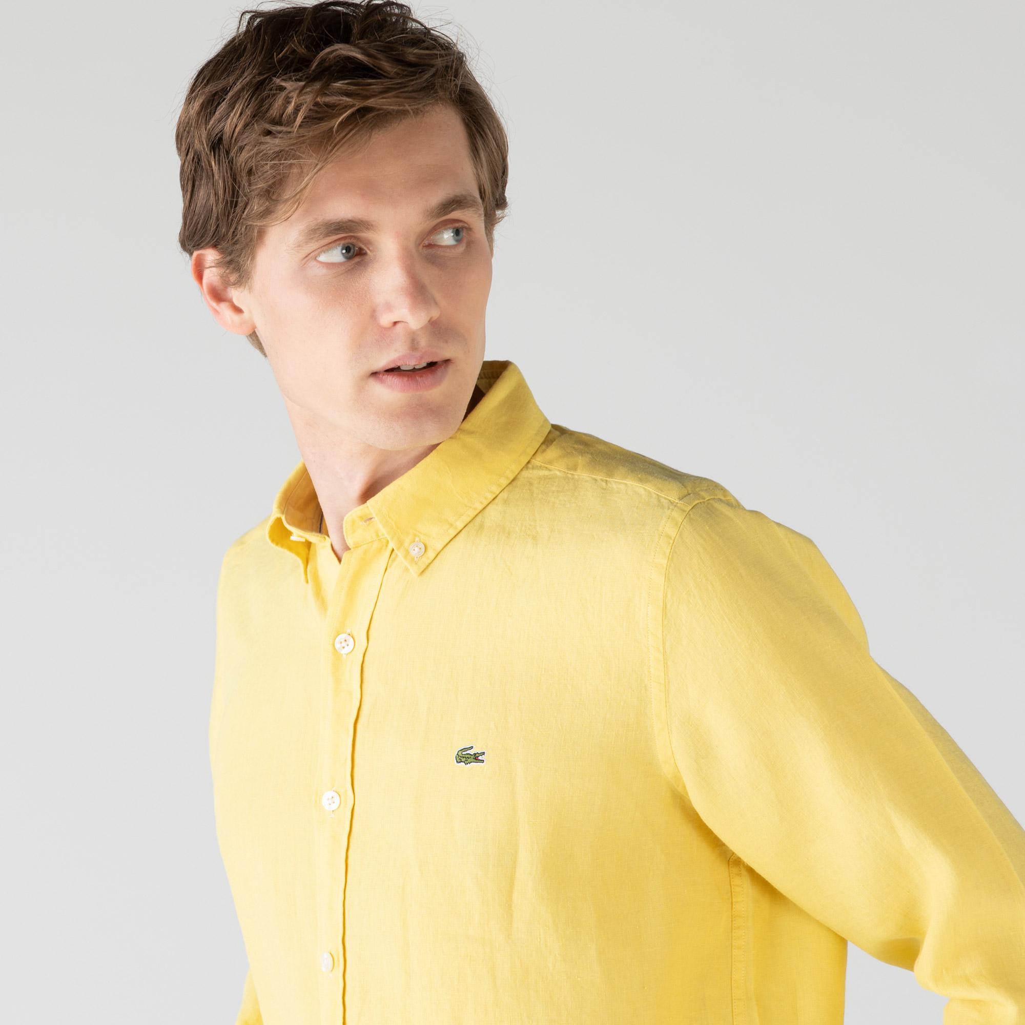 Lacoste Erkek Regular Fit Keten Sarı Gömlek