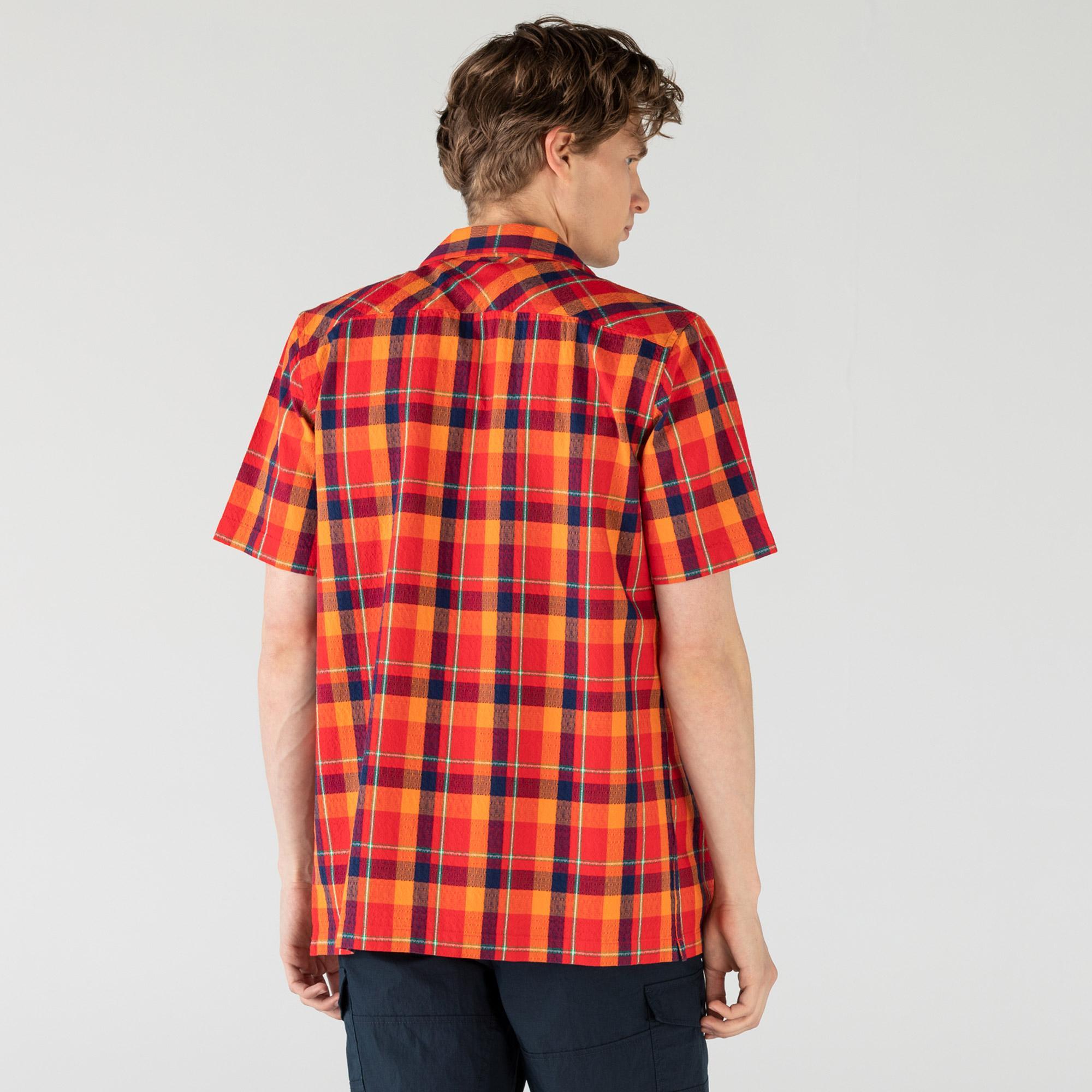Lacoste Erkek Kısa Kollu Ekose Desenli Renkli Gömlek