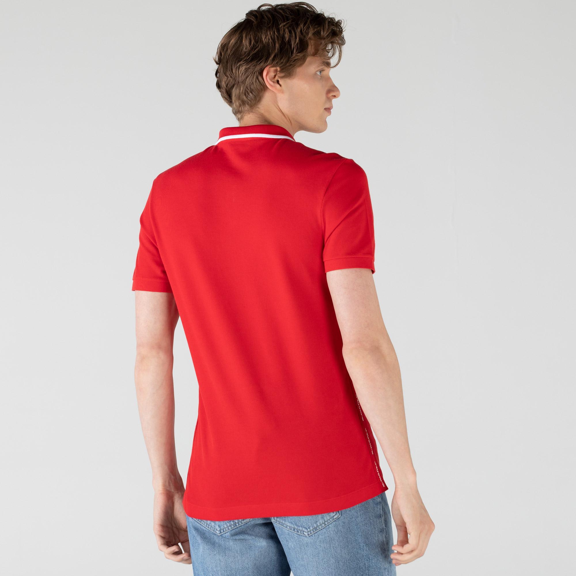 Lacoste Erkek Baskılı Kırmızı Polo