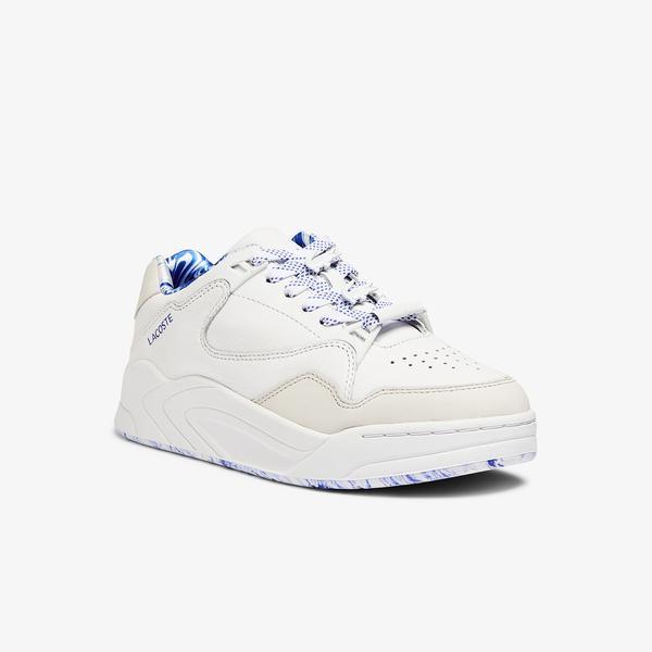Lacoste Court Slam 1121 1 Sfa Kadın Deri Beyaz - Mavi Sneaker