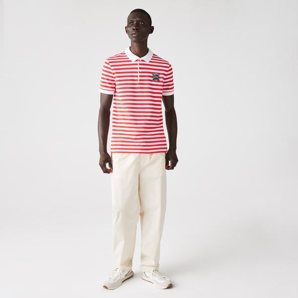 Lacoste Erkek Regular Fit Çizgili Kırmızı - Beyaz Polo