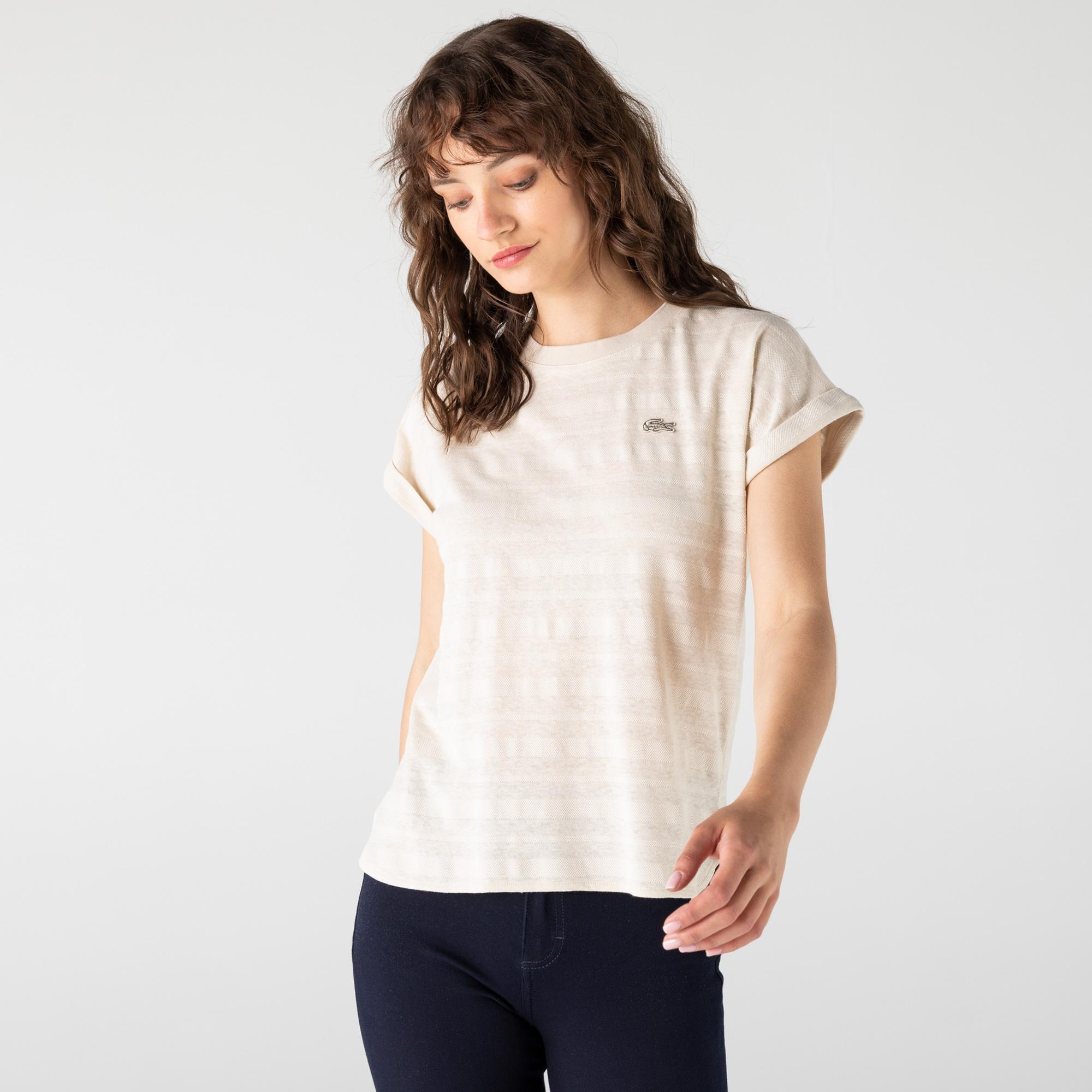 Lacoste Kadın Bisiklet Yaka Bej T-Shirt