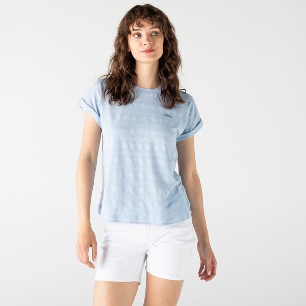 Lacoste Kadın Bisiklet Yaka Mavi T-Shirt