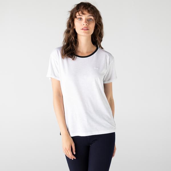 Lacoste Kadın Regular Fit Bisiklet Yaka Beyaz T-Shirt