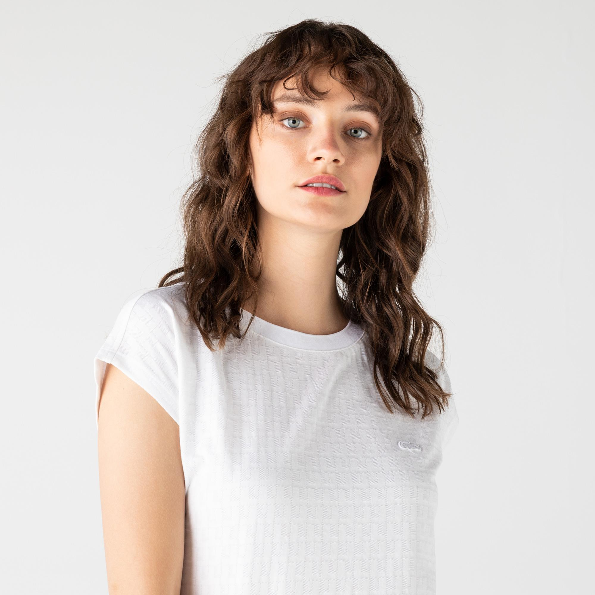 Lacoste Kadın Bisiklet Yaka Desenli Beyaz T-Shirt