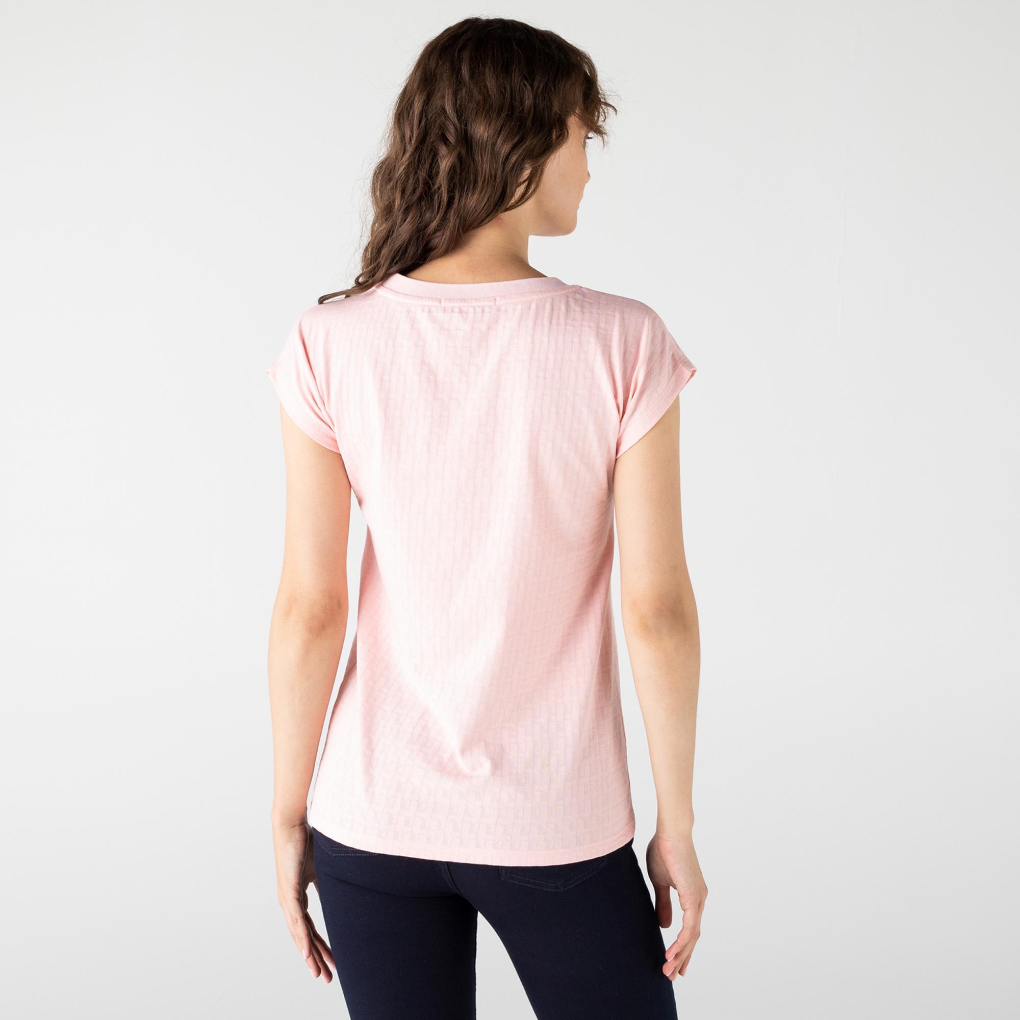 Lacoste Kadın Bisiklet Yaka Desenli Pembe T-Shirt