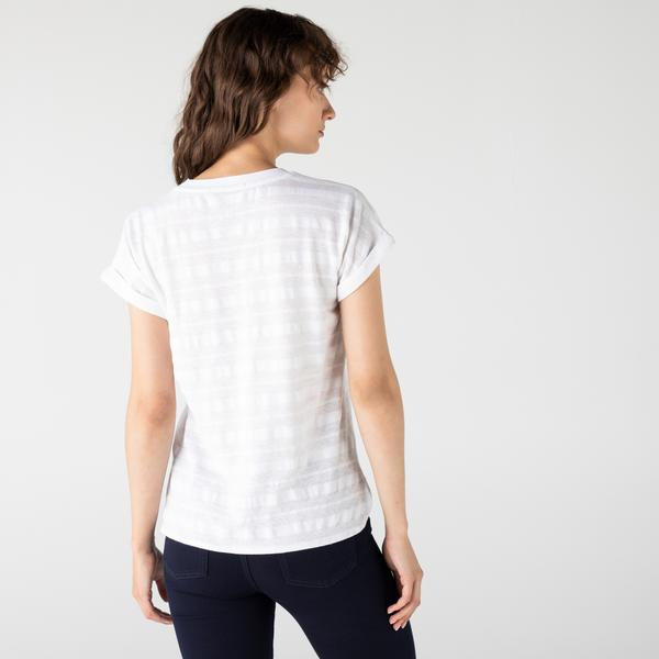 Lacoste Kadın Bisiklet Yaka Beyaz T-Shirt