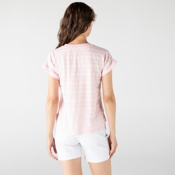 Lacoste Kadın Bisiklet Yaka Pembe T-Shirt