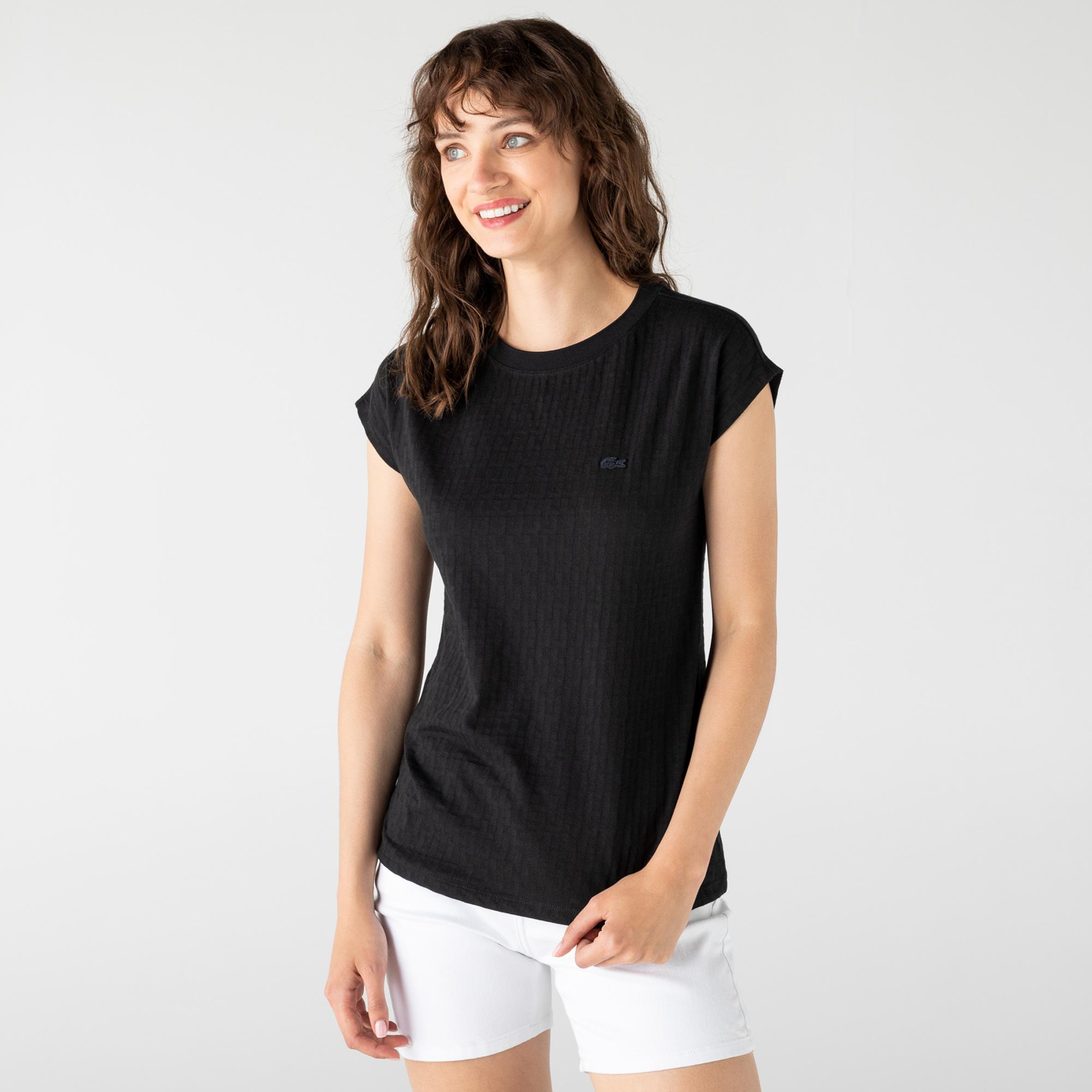 Lacoste Kadın Bisiklet Yaka Desenli Siyah T-Shirt