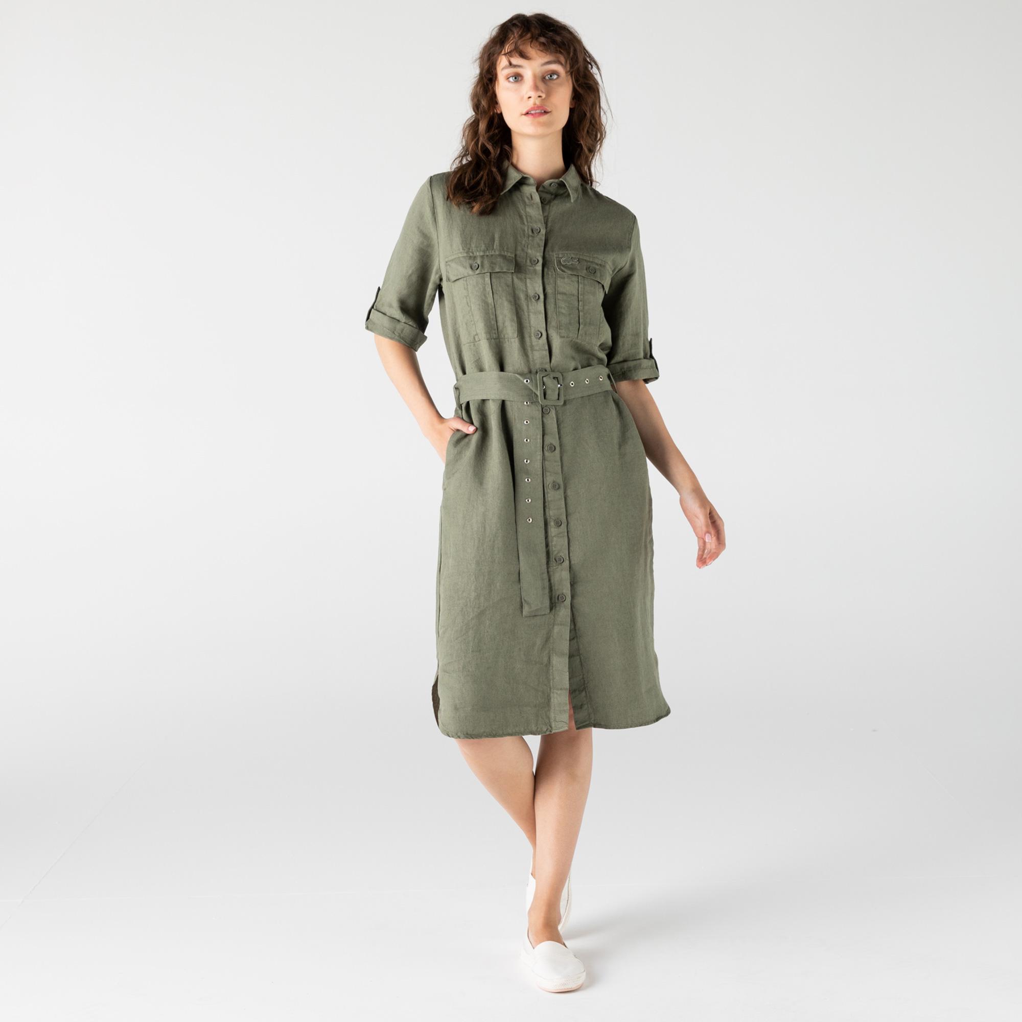 Lacoste Kadın Regular Fit Keten Gömlek Yaka Kısa Kollu Haki Elbise