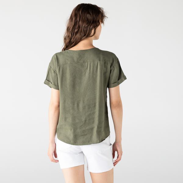 Lacoste Kadın V Yaka Haki Gömlek