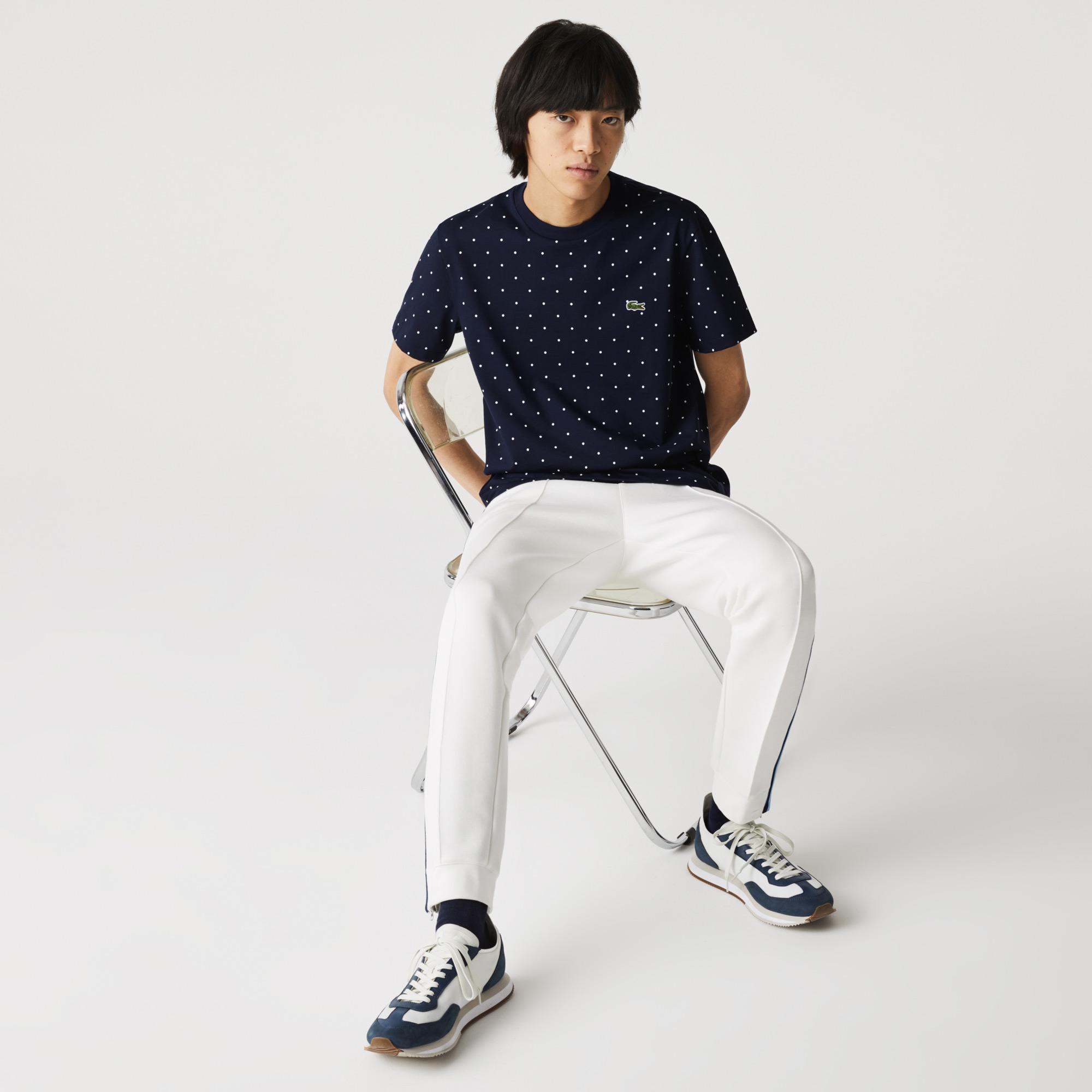 Lacoste Erkek Regular Fit Bisiklet Yaka Puantiyeli Lacivert T-Shirt