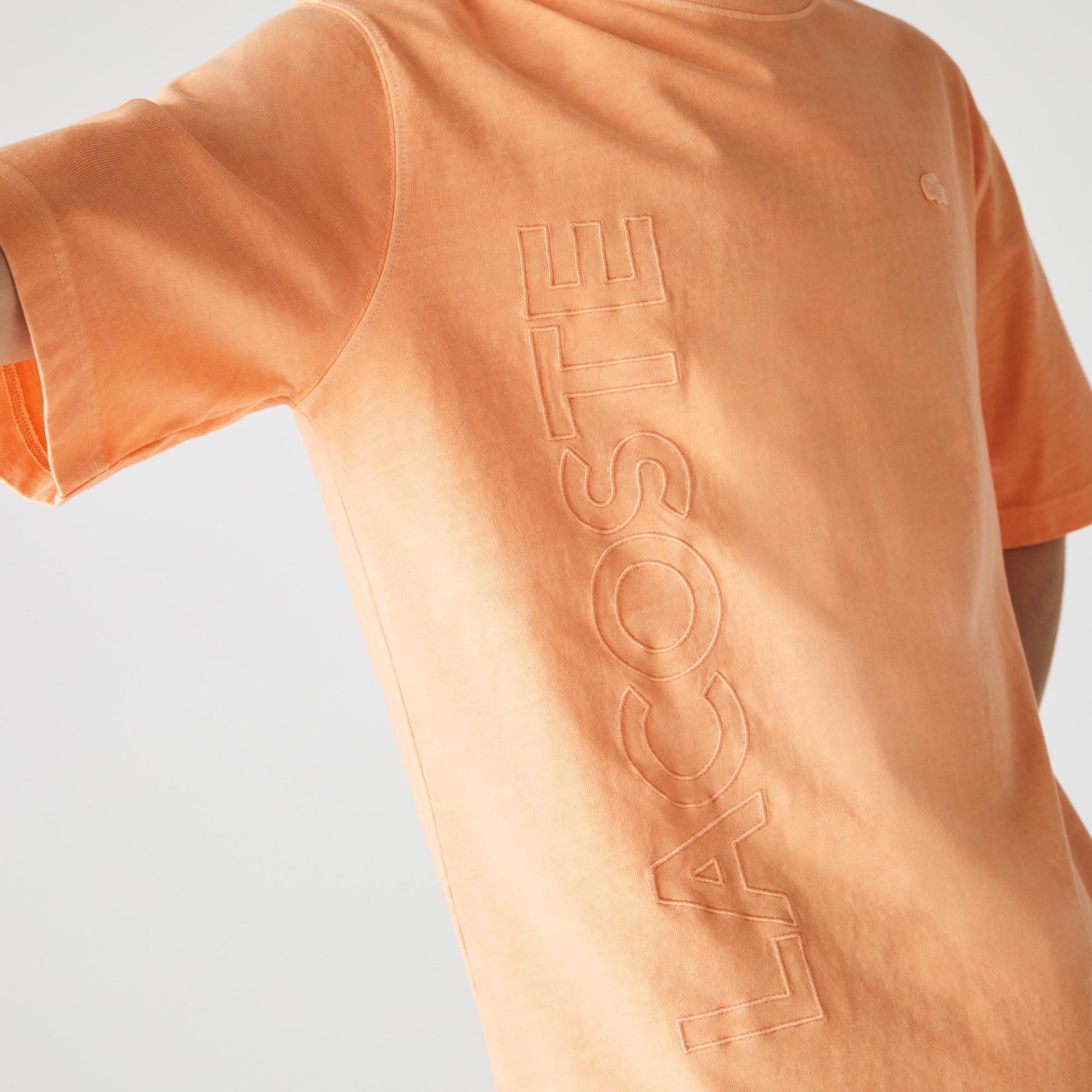 Lacoste L!ve Unisex Loose Fit Bisiklet Yaka Baskılı Açık Turuncu T-Shirt
