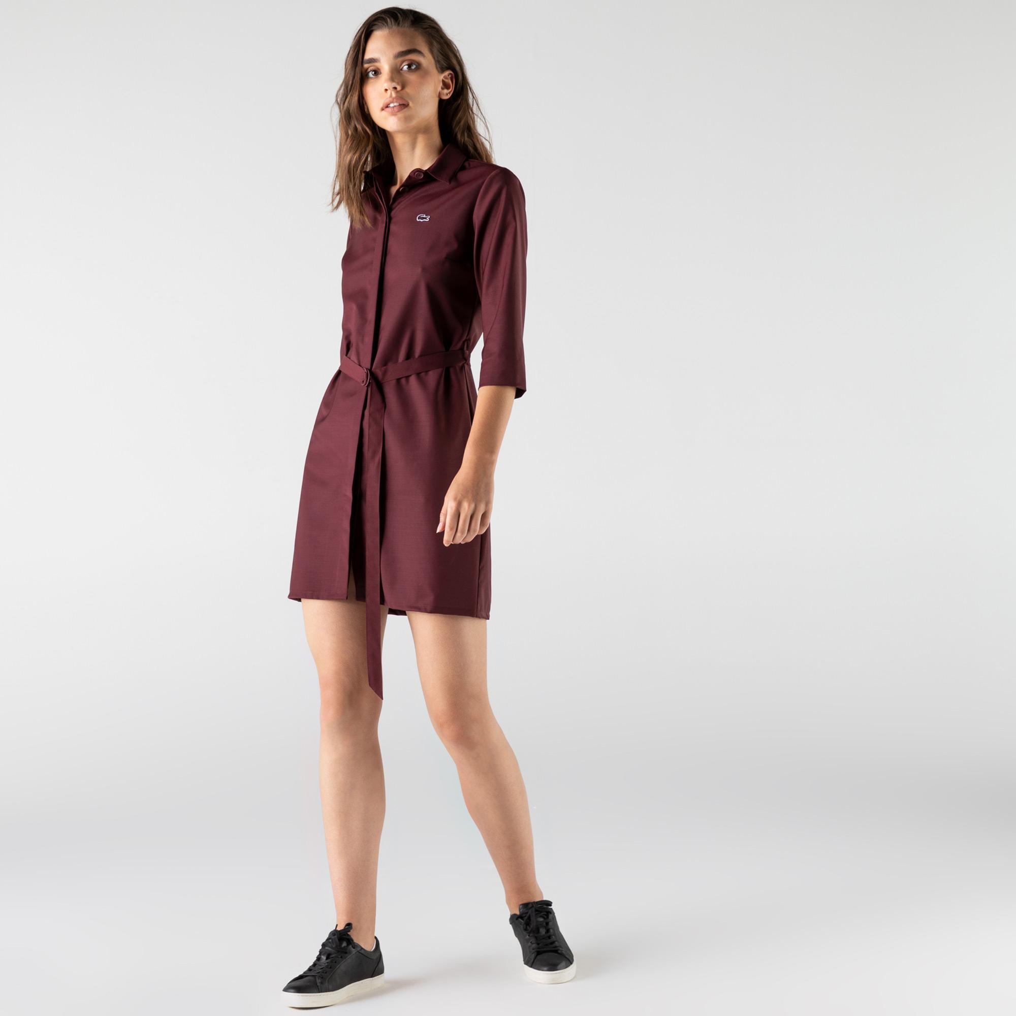 Lacoste Kadın Regular Fit Uzun Kollu Gömlek Yaka Bordo Elbise