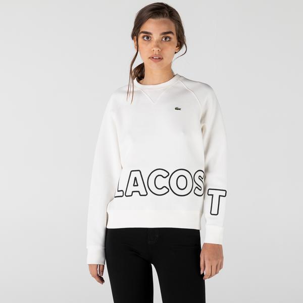 Lacoste L!VE Kadın Loose Fit Bisiklet Yaka Baskılı Beyaz Sweatshirt