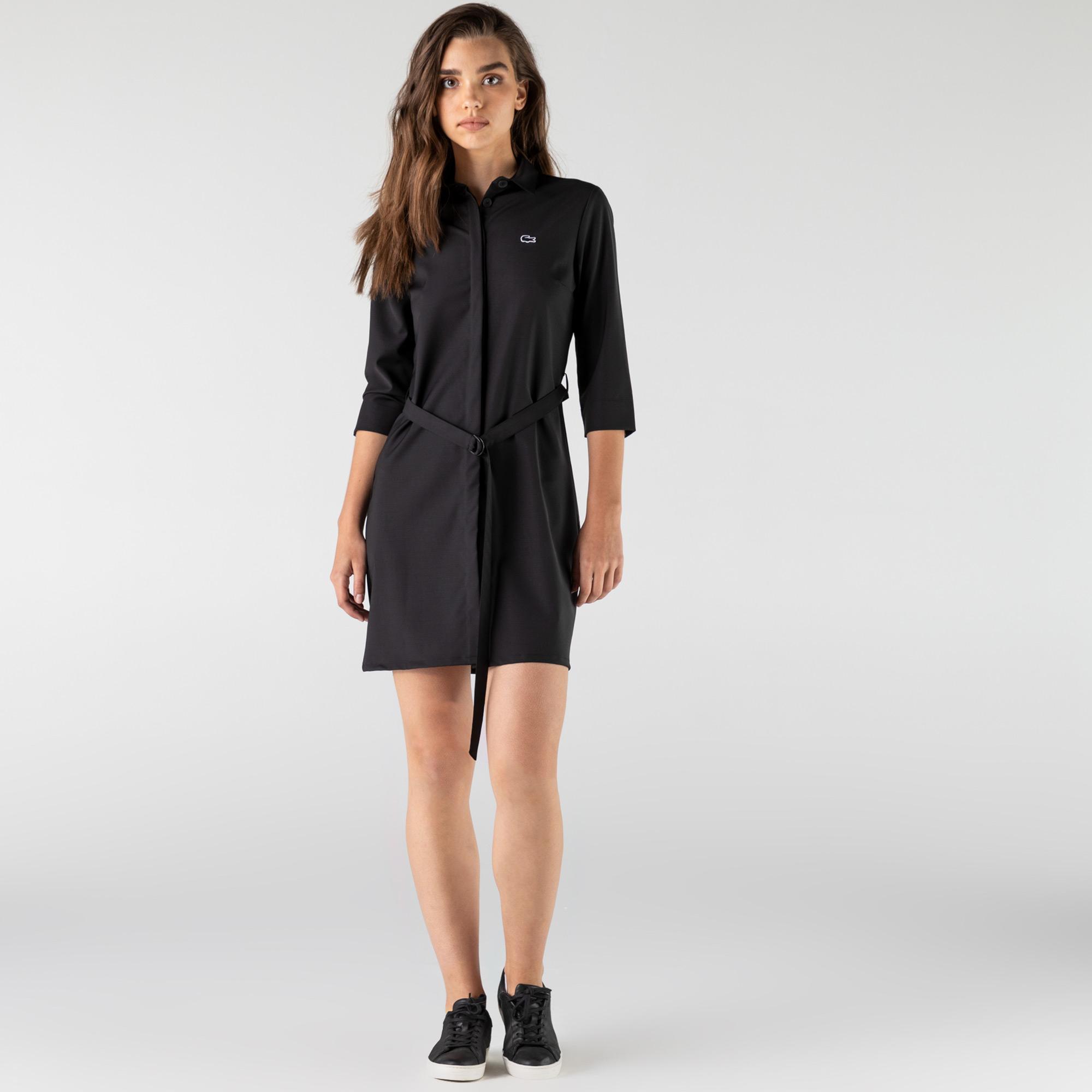 Lacoste Kadın Regular Fit Uzun Kollu Gömlek Yaka Siyah Elbise