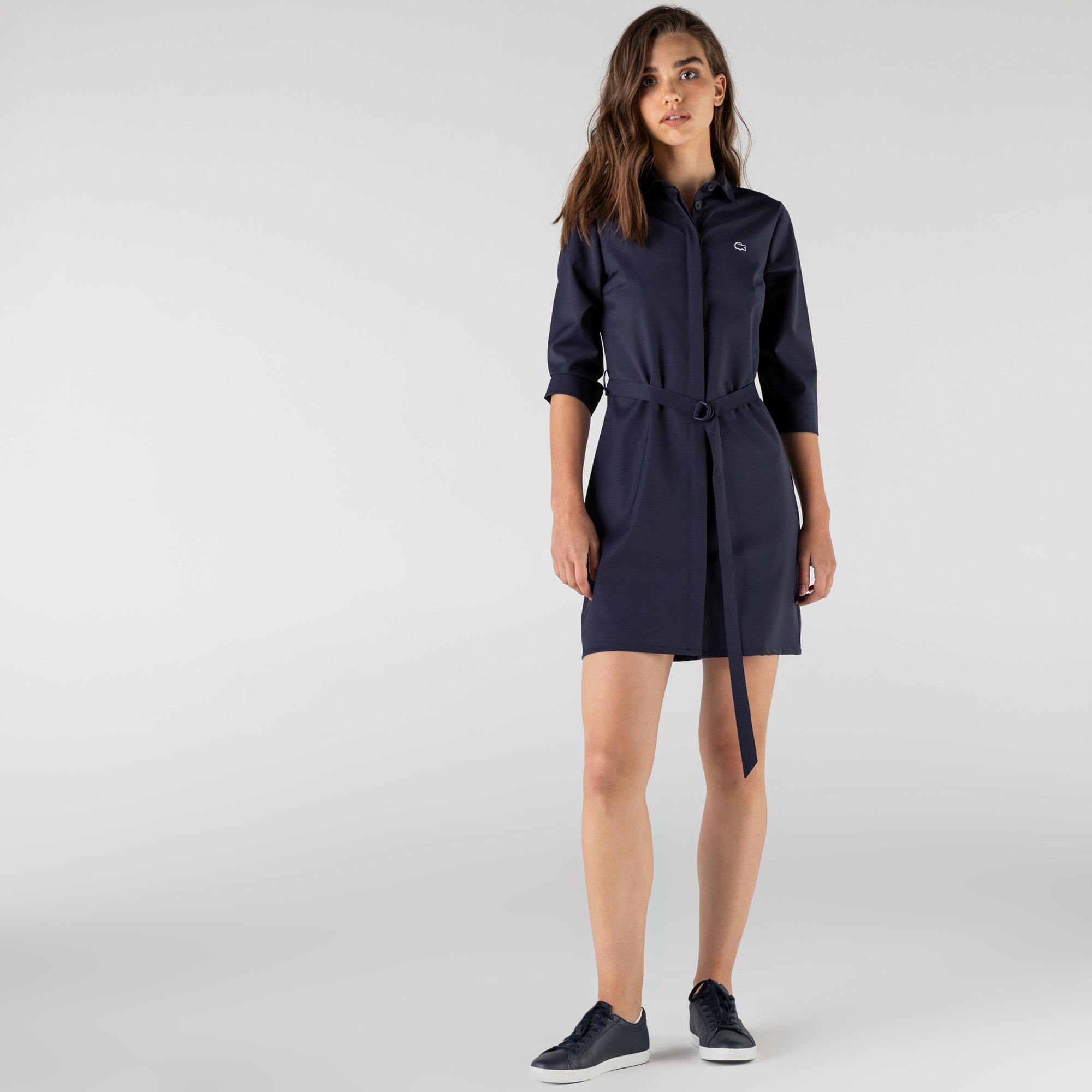 Lacoste Kadın Gömlek Yaka Lacivert Elbise