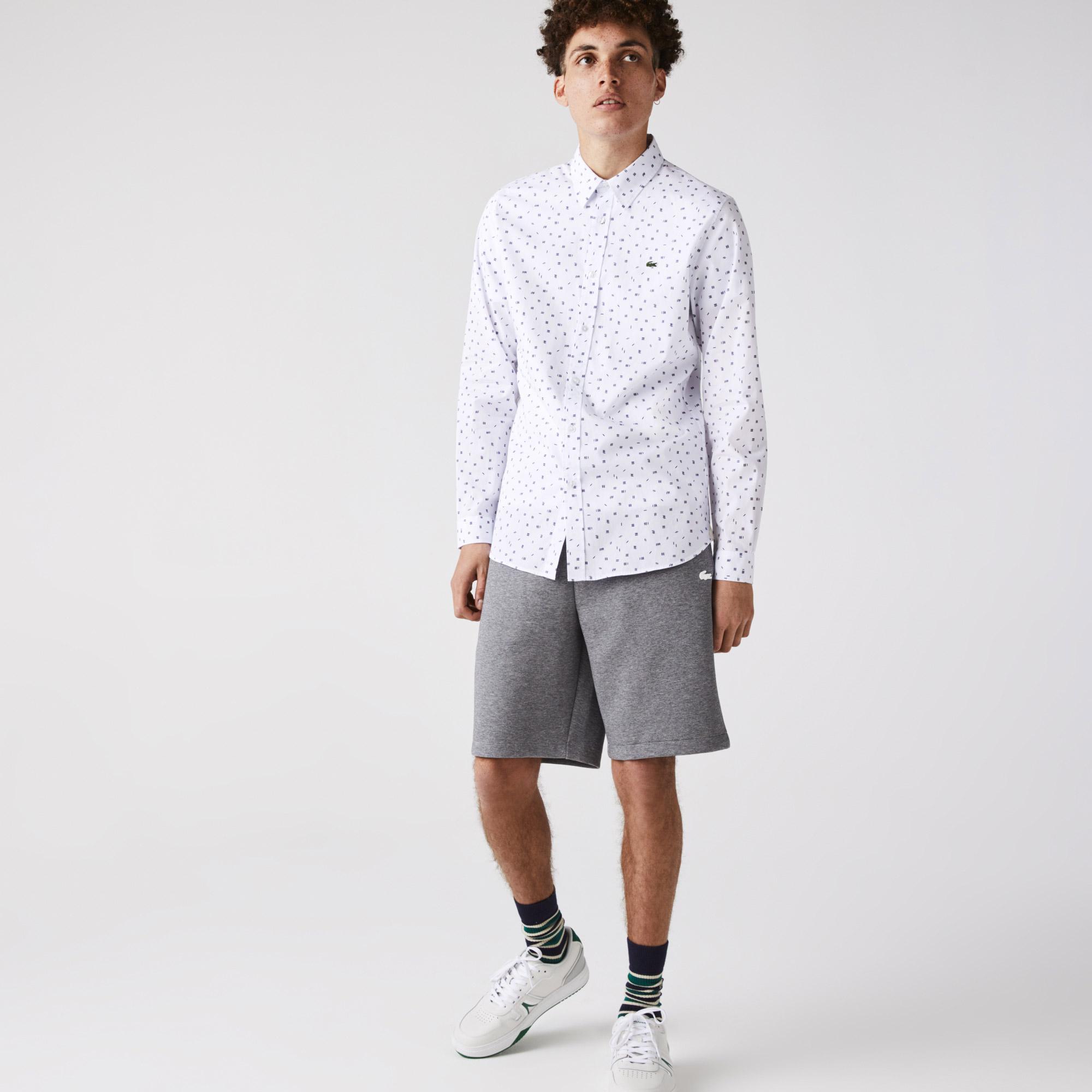 Lacoste Erkek Slim Fit Uzun Kollu Desenli Beyaz Gömlek