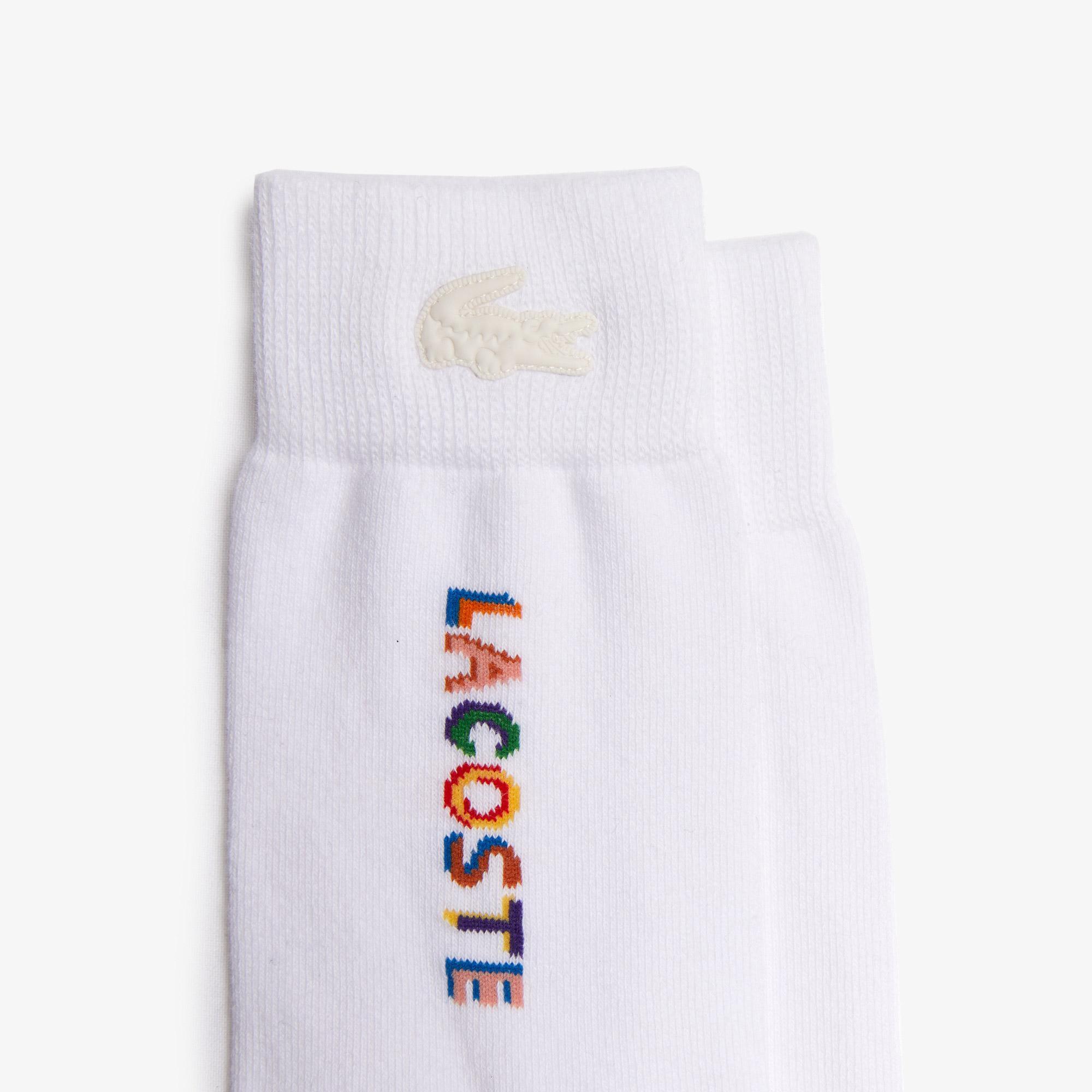 Lacoste L!VE Unisex Uzun Baskılı Beyaz Çorap