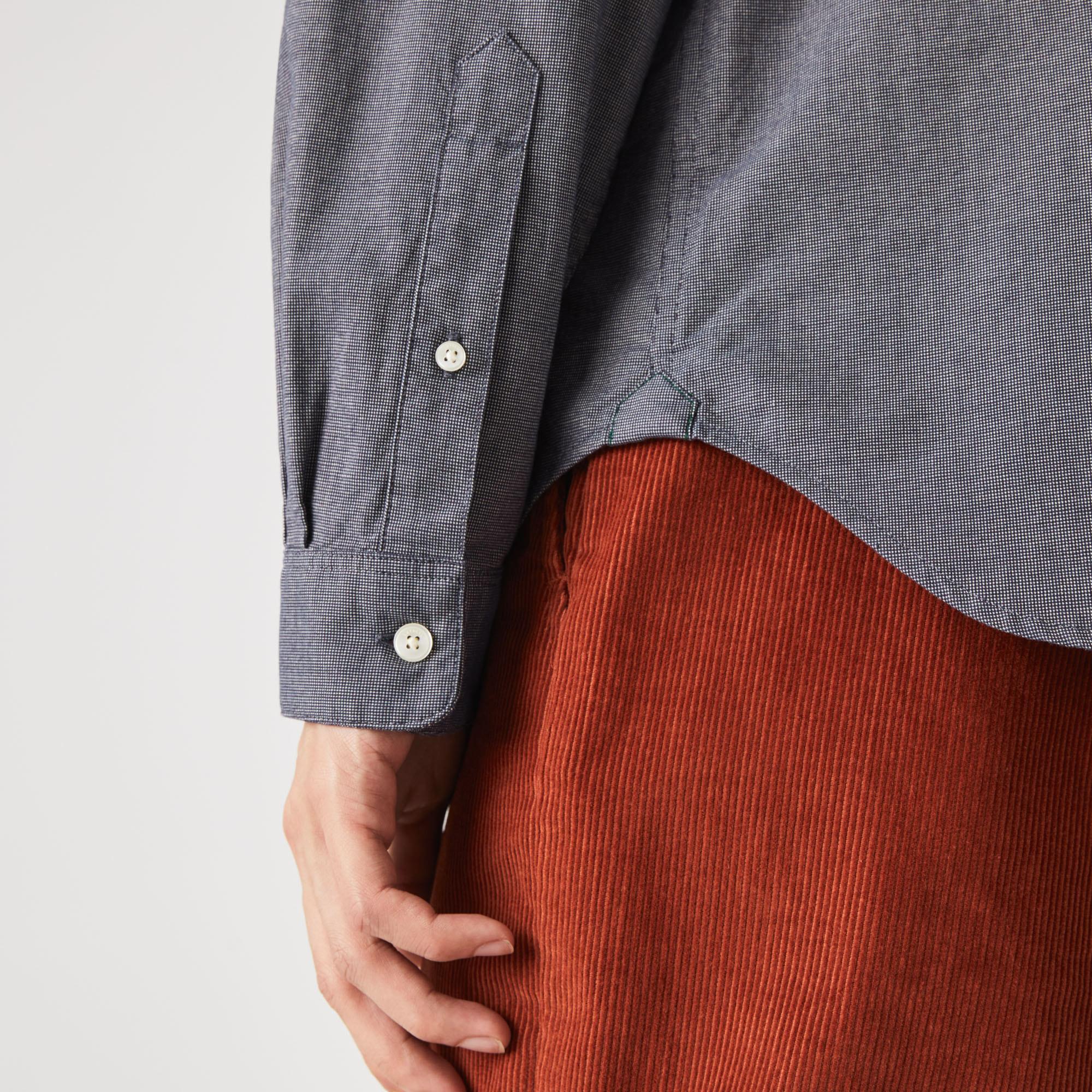Lacoste Erkek Regular Fit Uzun Kollu Desenli Lacivert Gömlek