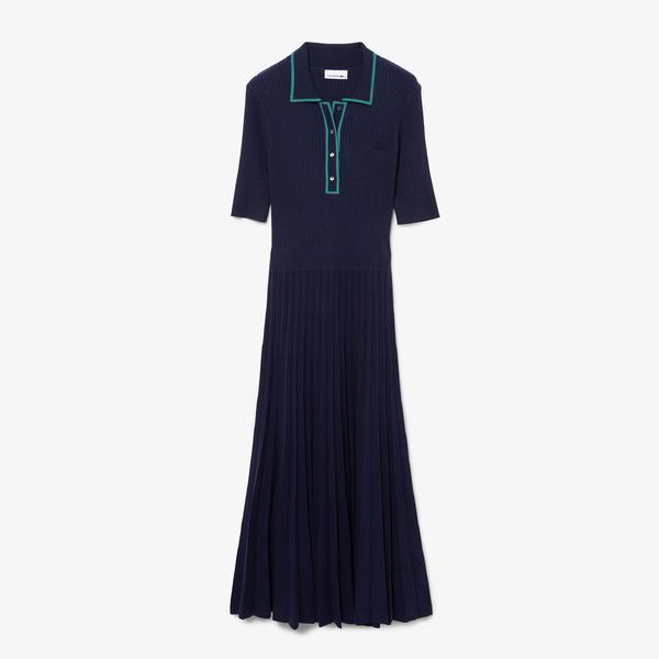 Lacoste Kadın Uzun Kollu Polo Yaka Lacivert Elbise