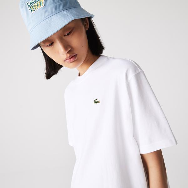 Lacoste L!VE Kadın Bisiklet Yaka Beyaz T-Shirt