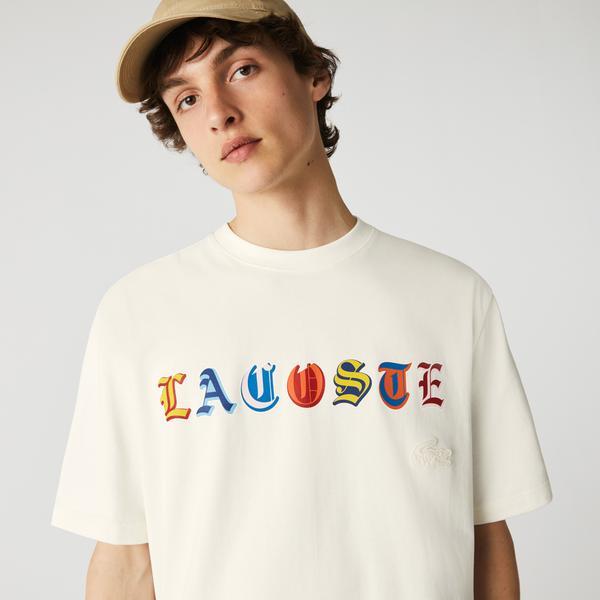 Lacoste L!VE Erkek Loose Fit Bisiklet Yaka Baskılı Beyaz T-Shirt