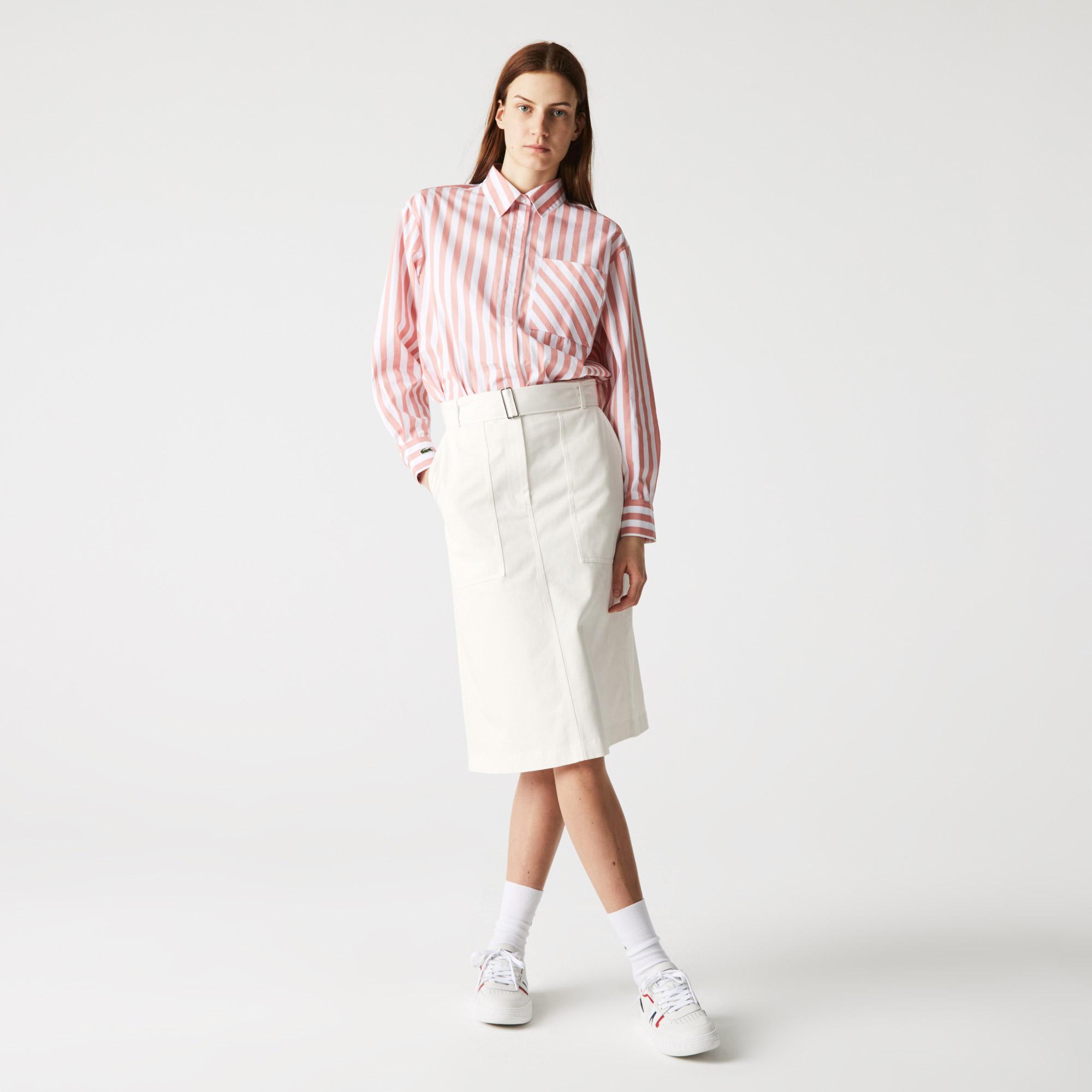 Lacoste Kadın Regular Fit Yüksel Bel Beyaz Etek