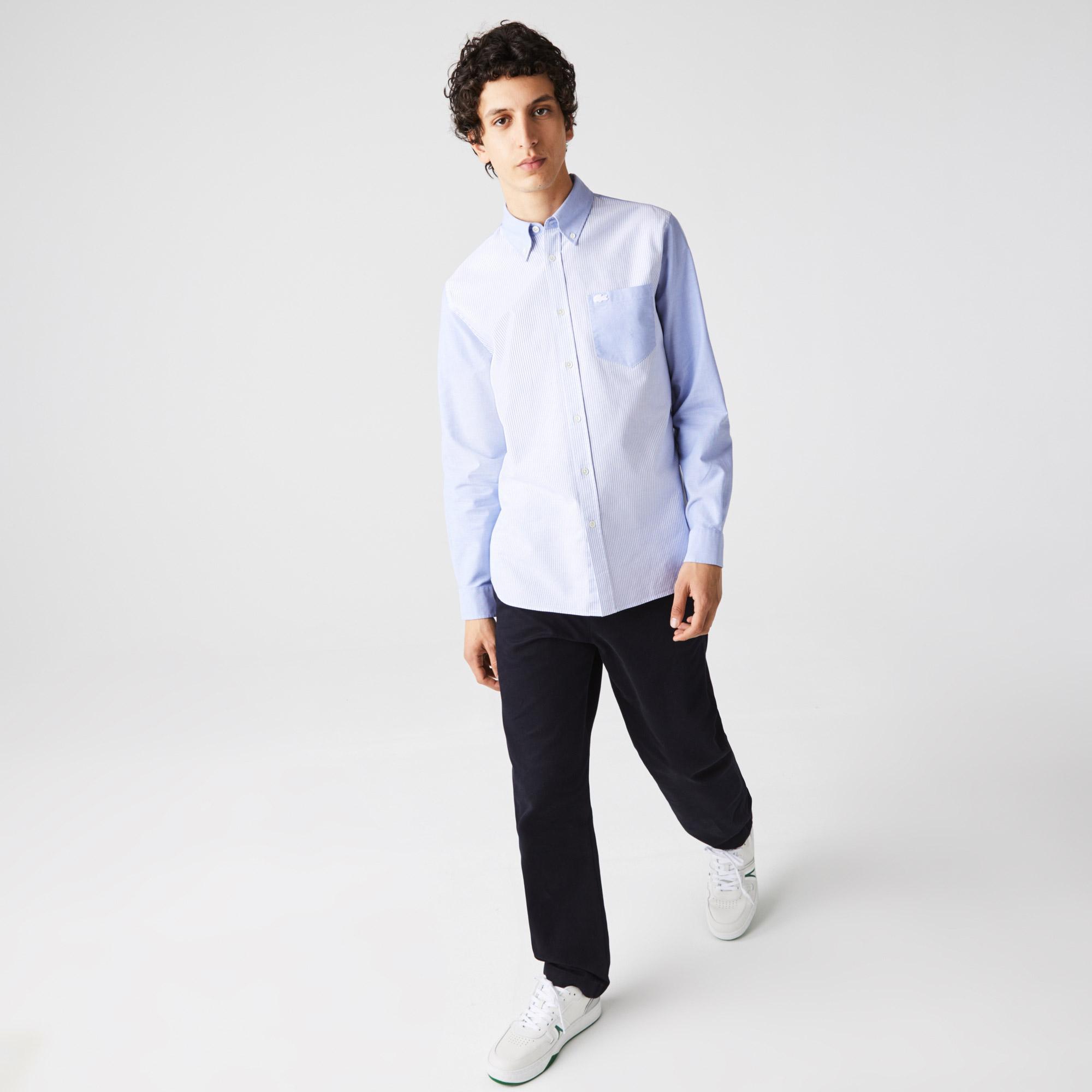 Lacoste Heritage Erkek Regular Fit Uzun Kollu Çizgili Mavi Gömlek