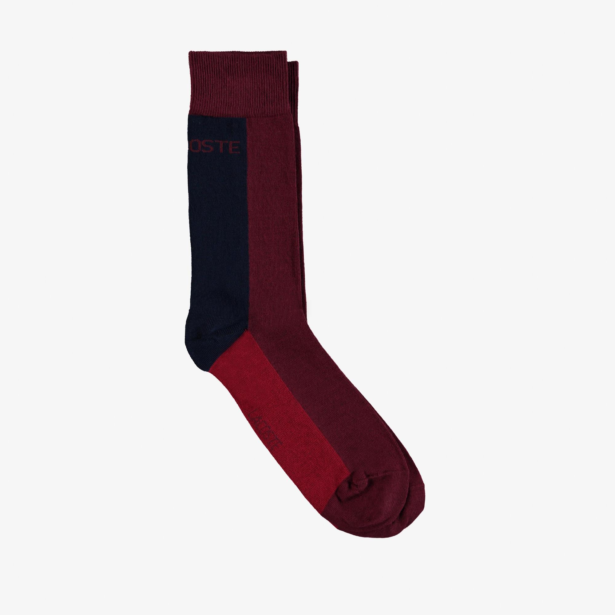 Lacoste Erkek Uzun Renk Bloklu Bordo Çorap