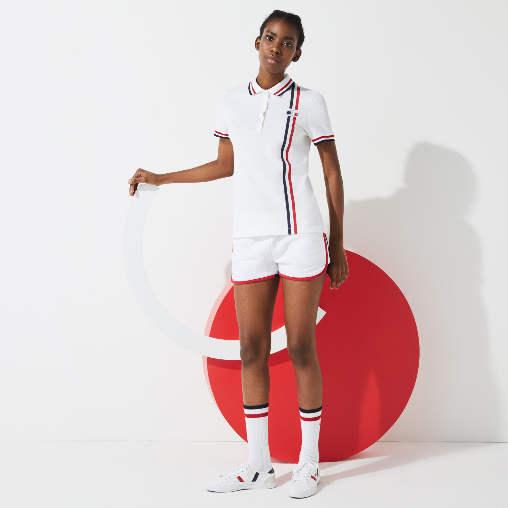 Lacoste X Tokyo Olympics Sport Kadın Çizgili Beyaz Polo
