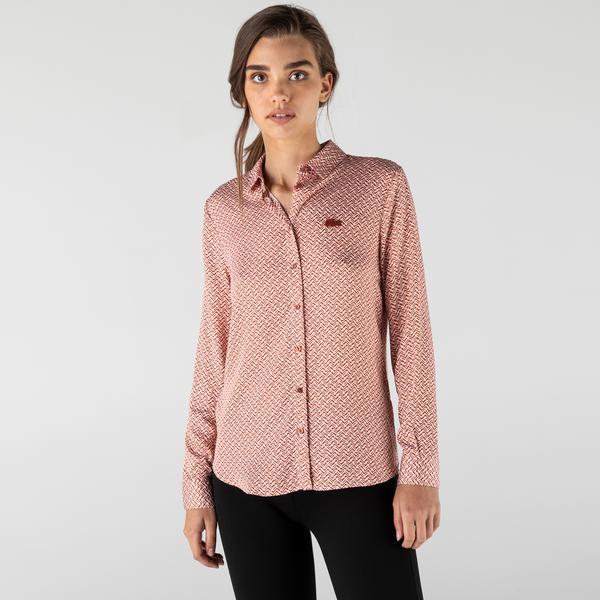 Lacoste Kadın Slim Fit Desenli Pembe Gömlek