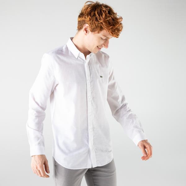 Lacoste Erkek Slim Fit Desenli Beyaz Gömlek