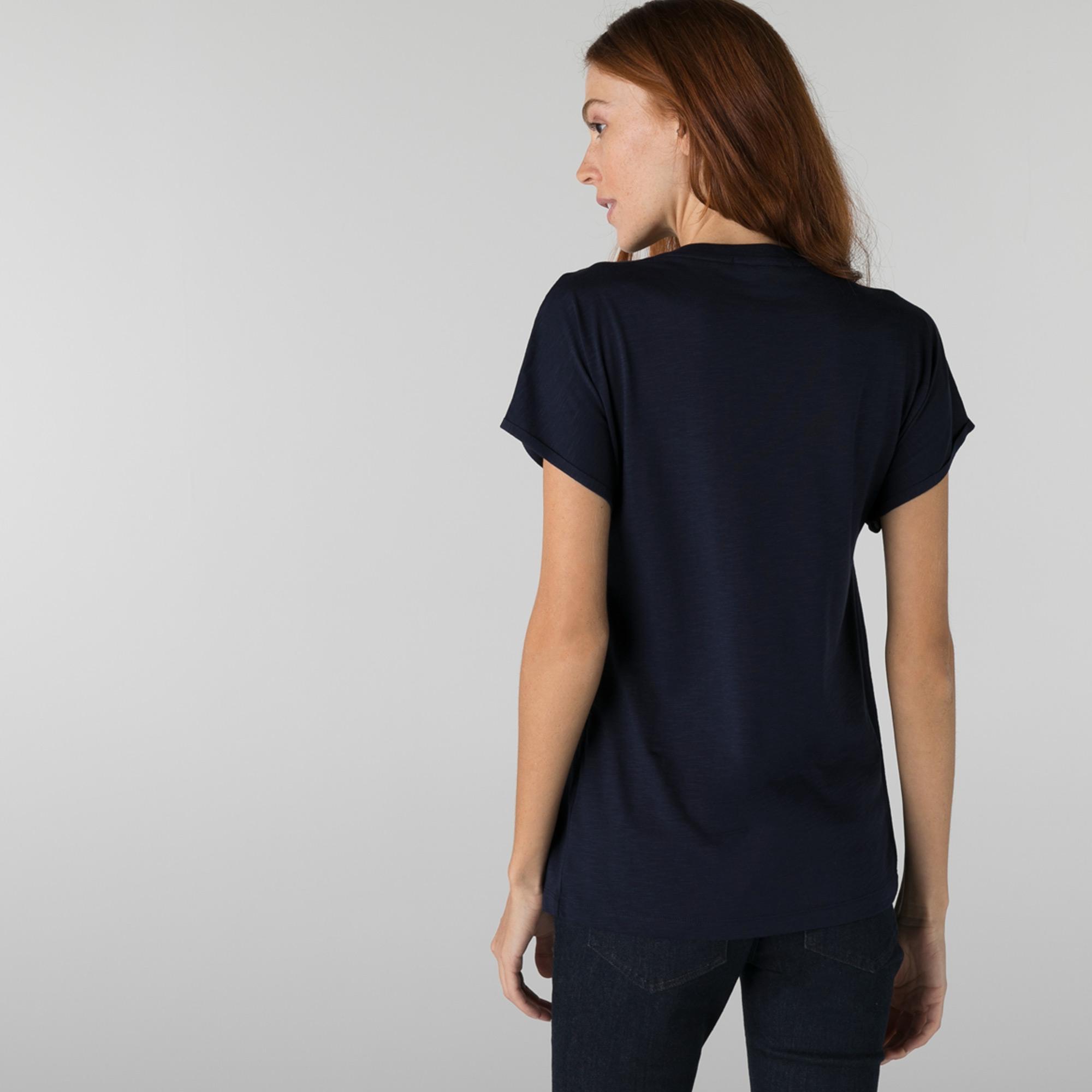Lacoste Kadın Loose Fit Bisiklet Yaka Lacivert T-Shirt