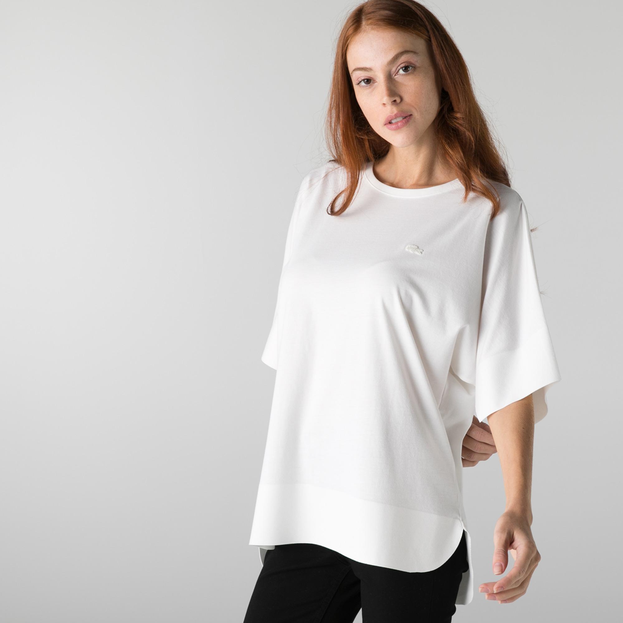 Lacoste Kadın Loose Fit Bisiklet Yaka Beyaz T-Shirt