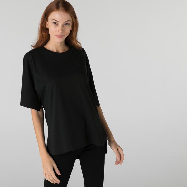 Lacoste Kadın Loose Fit Bisiklet Yaka Siyah T-Shirt