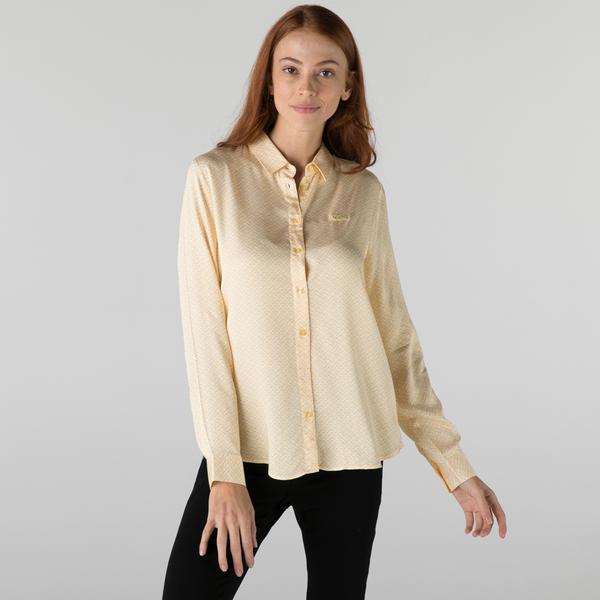 Lacoste Kadın Slim Fit Desenli Sarı Gömlek