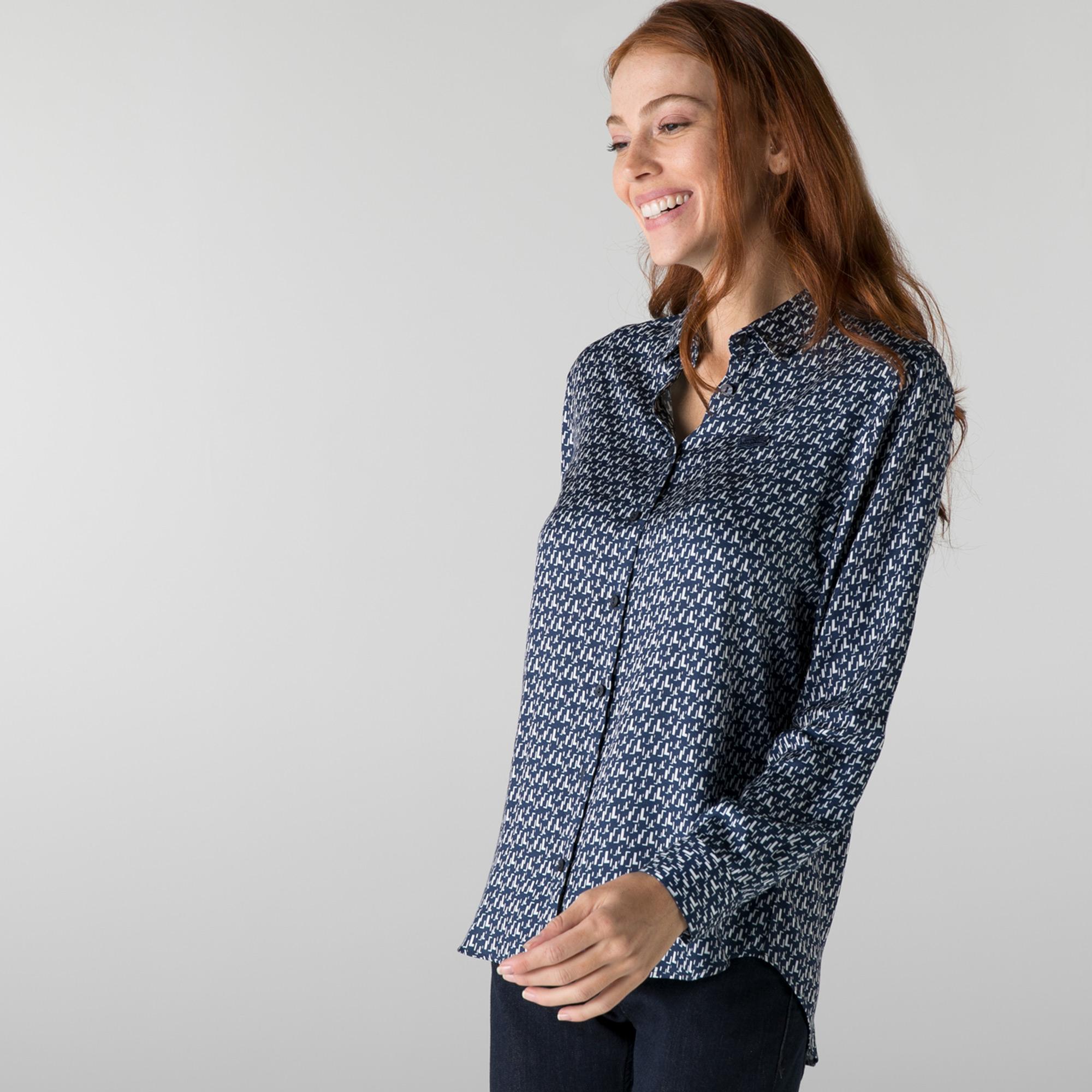 Lacoste Kadın Slim Fit Desenli Lacivert Gömlek