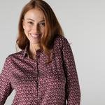 Lacoste Kadın Slim Fit Desenli Bordo Gömlek