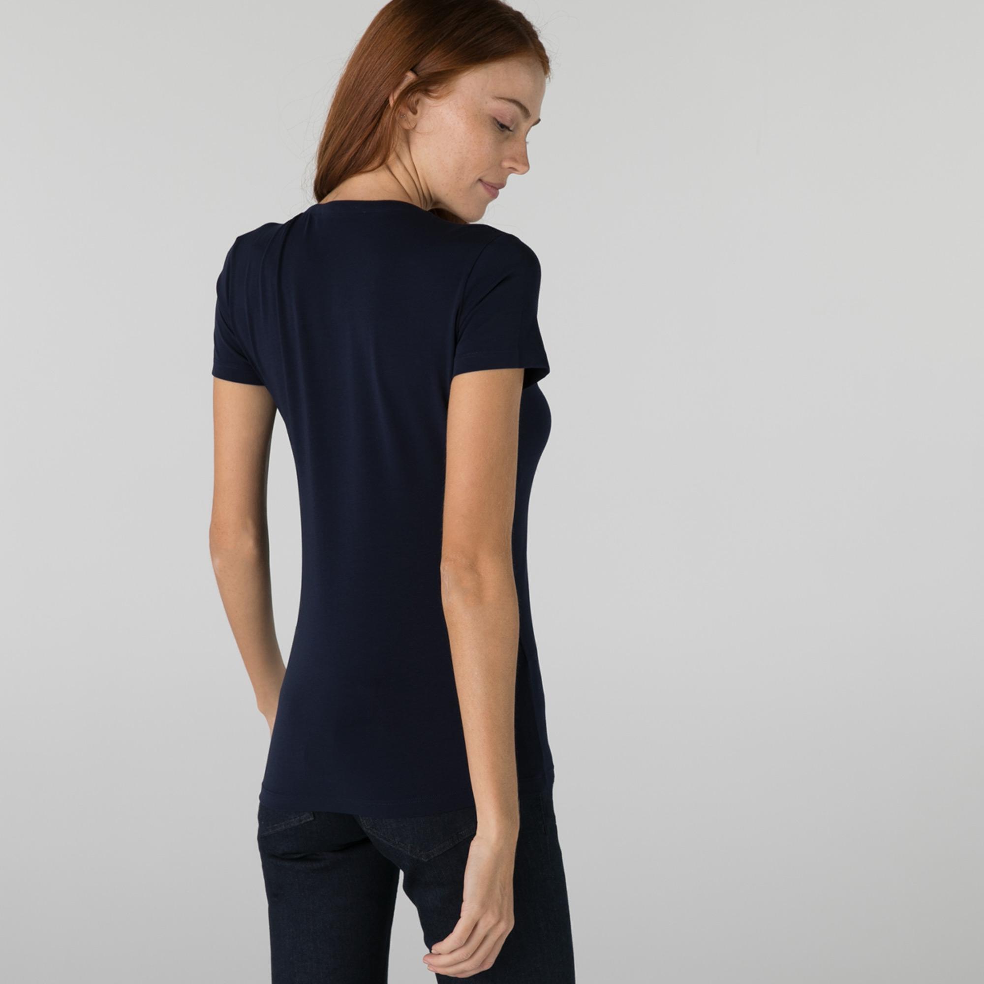Lacoste Kadın Slim Fit V Yaka Lacivert T-Shirt