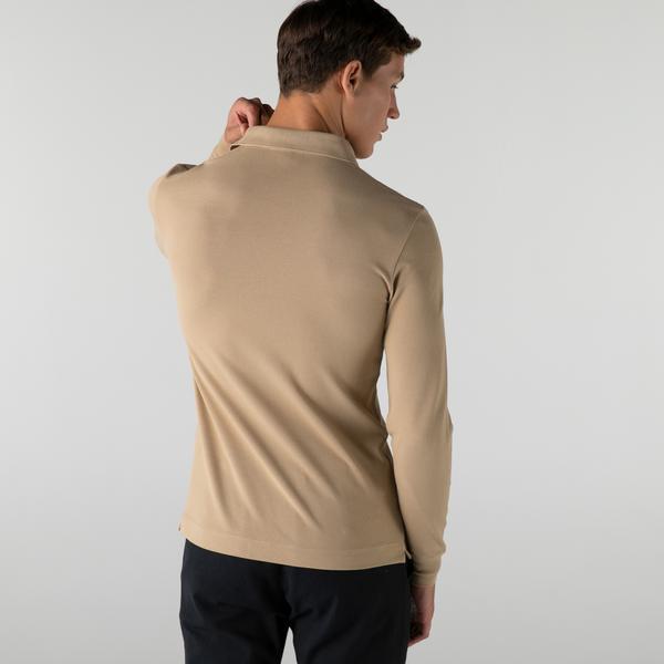 Lacoste Erkek Regular Fit Uzun Kollu Açık Kahverengi Polo