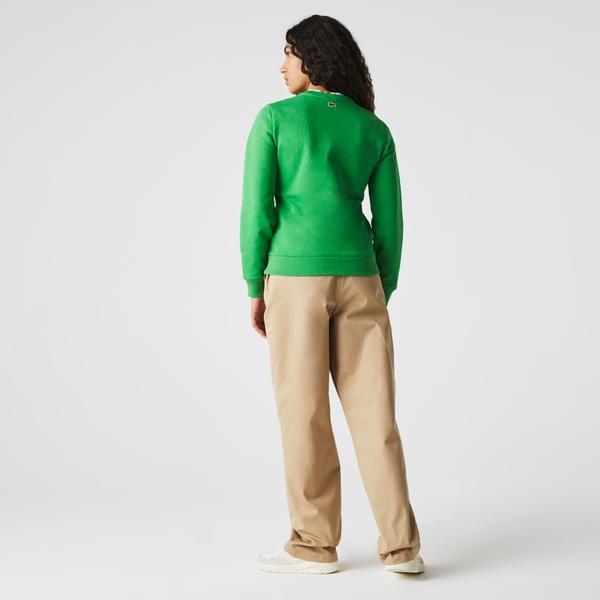 Lacoste Kadın Regular Fit Bisiklet Yaka Baskılı Yeşil Sweatshirt