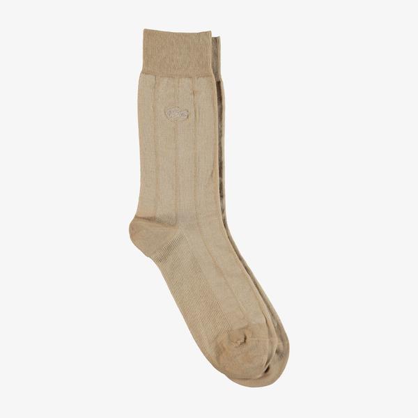 Lacoste Erkek Uzun Çizgili Bej Çorap