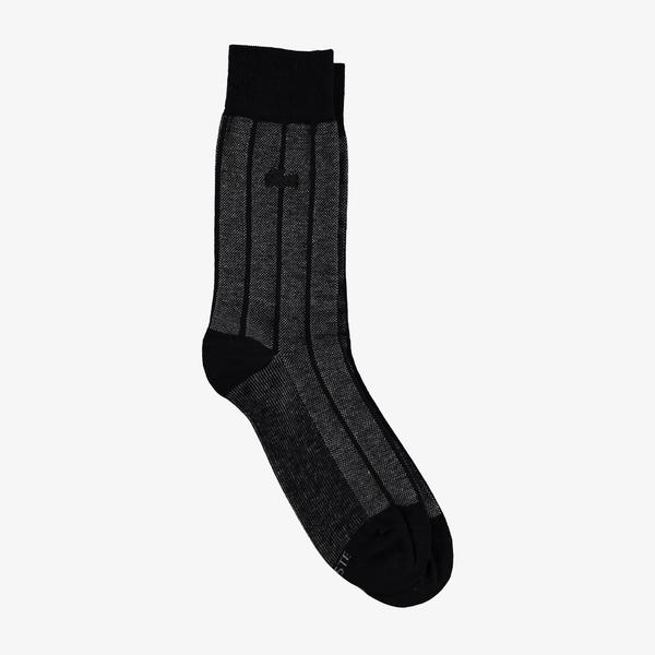 Lacoste Erkek Uzun Çizgili Siyah Çorap